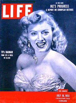 Dagmar (American actress) - Alfred Eisenstaedt photographed Dagmar for the July 16, 1951, issue of Life
