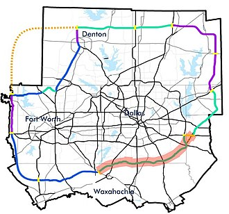 Texas State Highway Loop 9 - Tentative master plan for Dallas-Fort Worth outer loops, as released by the North Central Texas Council of Governments Metropolitan Transportation Program in 2009. Loop 9, as defined by TxDOT, is highlighted in red; it is unknown whether the remainder of the loop would receive this designation.