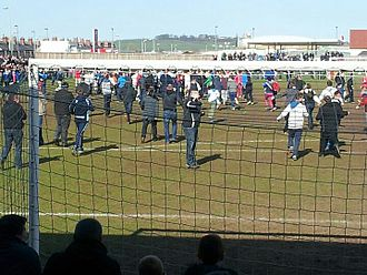 Darlington F.C. - Fans celebrate winning the 2013 Northern League title.