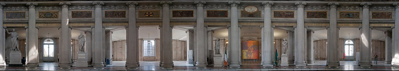 Stitched panoramic photograph showing the entrance hall of City Hall, Dublin