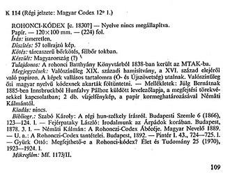 Rohonc Codex - The official library description of the manuscript (Csapodi, 1973)