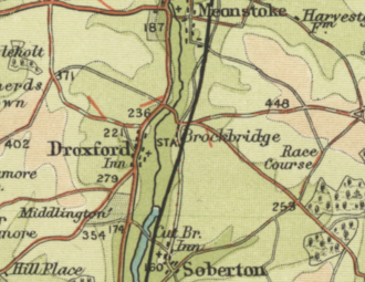 Map showing five roads converging on a railway station
