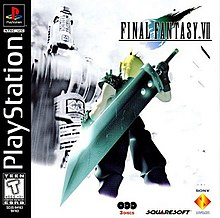 A blond-haired man in black clothing and armor stands with a giant sword on his back. In the foreground is a futuristic building shown in monochrome. A logo illustration, showing the game's title and a blue-green stylized depiction of a falling meteorite, is displayed in the top right hand corner.