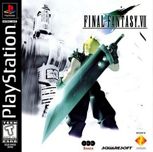 A blond-haired man in black clothing and armor stands with a giant sword on his back. In the foreground is a futuristic building shown in monochrome. A logo illustration, showing the game's title and a blue-green stylized depiction of a falling meteorite, is displayed in the top right-hand corner.