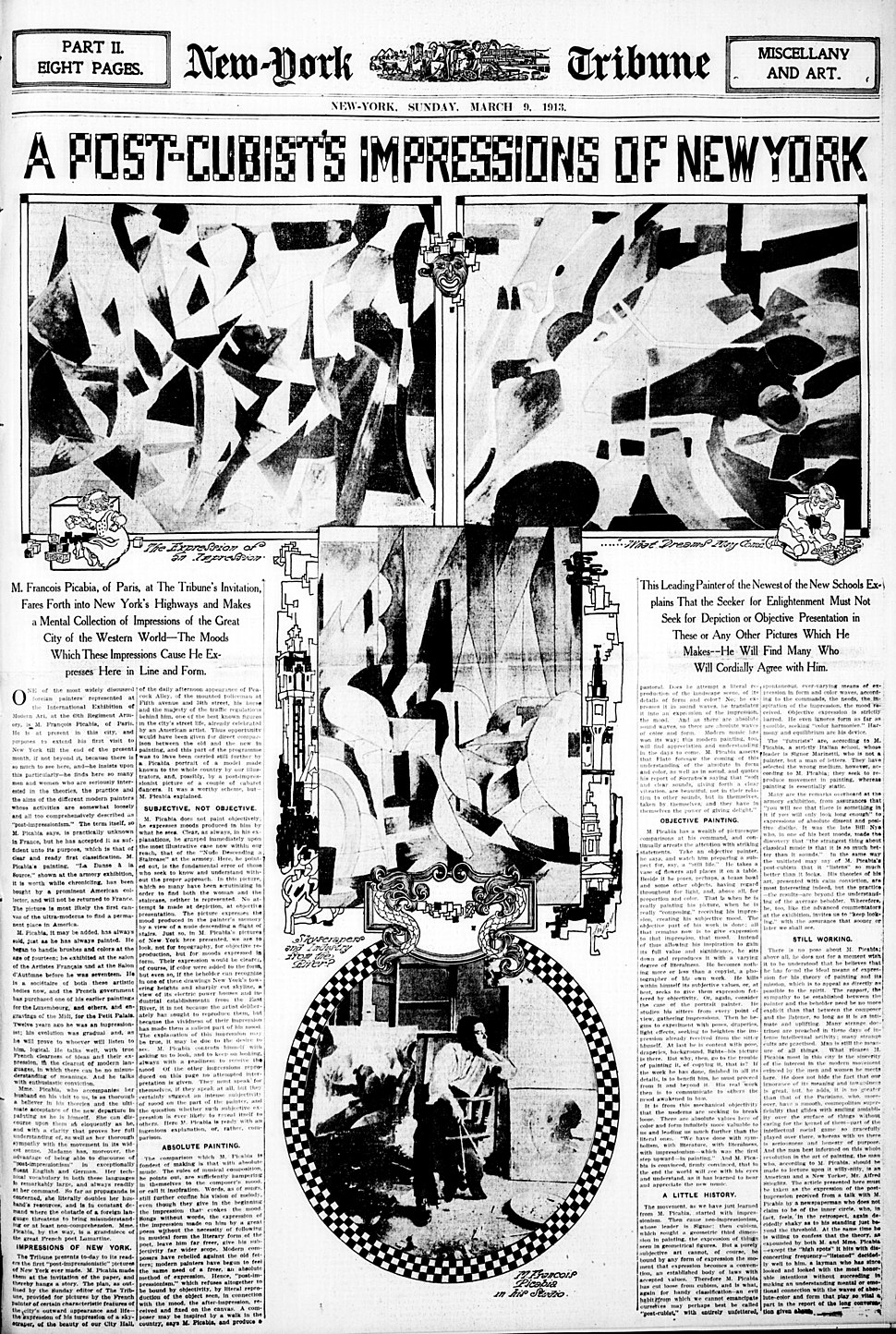 Francis Picabia paintings published in New York Tribune, 9 March 1913
