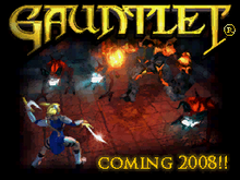 "Artist's depiction of a battle, with text showing the game's title and ""Coming 2008!!"""