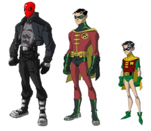 jason todd as red hood left and as robin center and right