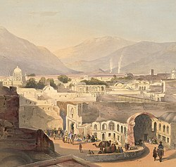 An old Painting of Kandahar, capital city of Ahmad Shah Durrani, with his tomb (background left). Lithograph, James Rattray, 1848