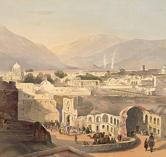 Kandahar - This lithograph is taken from plate 23 of Afghaunistan by Lieutenant James Rattray, 1848. He sketched Kandahar in December 1841 from the rooftop of the former residence of the province's governor, Sirdar Meer Dil Khaun, who was brother to the Emir. Pictured on the left is the tomb of Ahmed Shah Durrani and on the right the Bala Hissar (fort) and citadel. The houses in the foreground were dilapidated due to frequent earthquakes.
