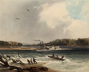 Yellowstone (steamboat) - The steamer Yellow-Stone on the 19th April 1833 (circa 1832): aquatint by Karl Bodmer from the book Maximilian, Prince of Wied's Travels in the Interior of North America, during the years 1832–1834