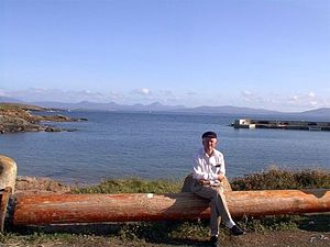 """Tory Island - The """"king of Tory"""", Patsy Dan Rodgers, waiting near the harbour to welcome visitors to the island"""
