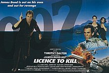 "In the left of the picture stands a man dressed in black pointing a pistol towards the viewer. An inset picture shows two women looking out of the poster above another man and a few images depicting vehicles and explosions. The name '007' appears in the top right whilst in the centre at the bottom are the words ""LICENCE TO KILL"""