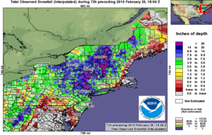 February 25–27, 2010 North American blizzard - February 25–27, 2010 North American blizzard Mid-Atlantic and New England states snowfall accumulation. Created by the National Weather Service