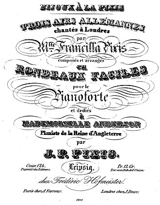 Johann Peter Pixis - Pixis, Three German Airs, title page. Sung in London by his adopted daughter Francilla.