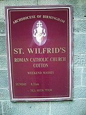 Plaque outside St Wilfrid's Roman Catholic Church, Archdiocese of Birmingham.jpg