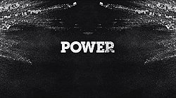 "A dark montage with the name ""Power"" written on it, surrounded by a cloud of cocaine."