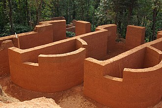 Banasura Hill Resort - Rammed earth architecture was used for construction.