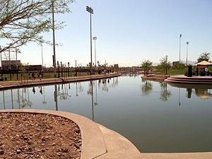 Camelback Ranch - This is a fish stocked lake that separates the White Sox and Dodgers training fields at Camelback Ranch, Phoenix, Arizona