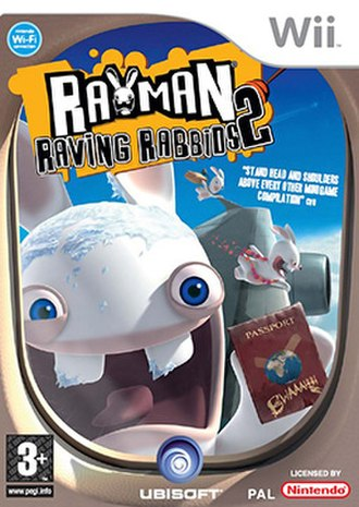 Rayman Raving Rabbids 2 - European Wii Version Boxart of the Game.