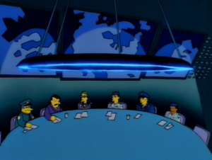 Sideshow Bob's Last Gleaming - The underground compound in the episode references the War Room from Dr. Strangelove.
