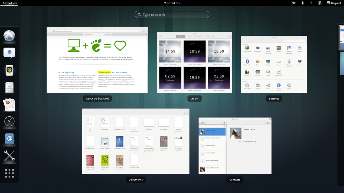 """Shows Overview mode (""""Activities"""") in GNOME 3.8.png"""