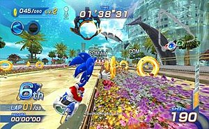 Sonic Free Riders - An example of gameplay in Sonic Free Riders