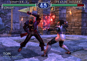Soulcalibur II - A fight between Raphael and Taki on the GameCube