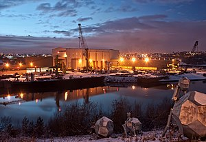 Sunderland - The Liebherr crane factory is the last remaining heavy industry on the River Wear in Sunderland.