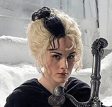 Actress Michelle Dockery in character as Susan Sto Helit in a promotional shot for the SkyOne adaption of Hogfather.