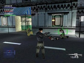 Syphon Filter (video game) - A still image from the first level of the game. The interface displays Logan's armour, ammunition count and radar.