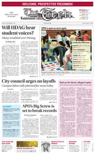 The Tech (newspaper) - Front page of The Tech (April 9, 2010)
