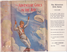 Colour photograph of the dust jacket illustration for The Adventure Girls in the Air