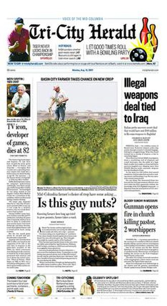 Tri-City Herald - The August 13, 2007 front page of the Tri-City Herald