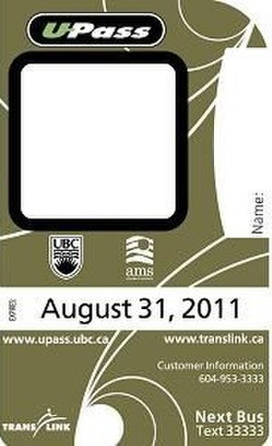 U-Pass BC - Previous card design prior to the switch to U-Pass BC