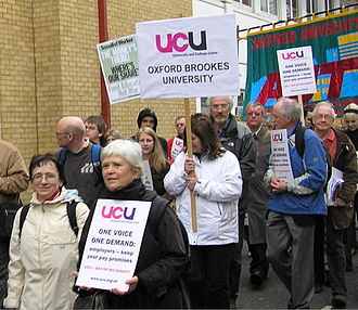 University and College Union - the demonstration on the first day of the new union