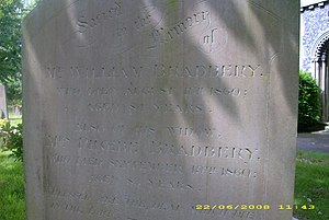 William Bradbery - William Bradbery's headstone in St Thomas's churchyard