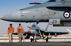 Australian contribution to the 2003 invasion of Iraq - F/A-18A aircraft and ground crew from No. 75 Squadron.