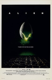 "A large egg-shaped object that is cracked and emits a yellow-ish light hovers in mid-air against a black background and above a waffle-like floor. The title ""ALIEN"" appears in block letters above the egg, and just below it in smaller type appears the tagline ""in space no one can hear you scream"".[1]"