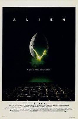 """A large egg-shaped object that is cracked and emits a yellow-ish light hovers in mid-air against a black background and above a waffle-like floor. The title """"ALIEN"""" appears in block letters above the egg, and just below it in smaller type appears the tagline """"in space no one can hear you scream"""".[1]"""