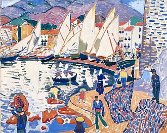 Pushkin Museum - André Derain, 1905, Le séchage des voiles (The Drying Sails), oil on canvas, 82 x 101 cm. Exhibited at the 1905 Salon d'Automne