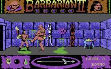 "A digital representation of a barbarian, wearing only a loincloth, holds his axe at the ready as a big humanoid monster kicks at him.  On the top left and right corners of the screen are gauges that depict the lives of the combatants.  The word ""Barbarian II"" lies in the top centre with five globes under it.  The player's score is displayed in the lower right corner.  The lower centre of the screen depicts a sword that acts as a compass.  The lower left panel shows items collected by the player character."
