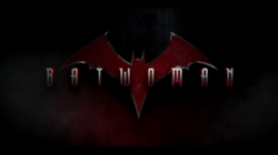 """BATWOMAN"" written in a metallic font over a dark background with a red/orange bat symbol in the background"