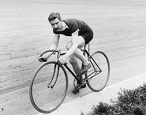 History of cycling - Bicycle Racer posed at Salt Palace wood track, Salt Lake City, 1911