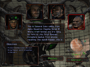 StarCraft (video game) - Plot exposition often takes place in menued screens with only the characters' faces shown and their captioned voices heard.