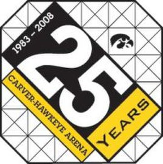 Carver–Hawkeye Arena - A logo commemorates the 25-year anniversary of Carver–Hawkeye Arena.