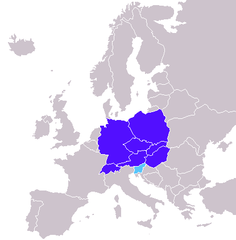 "Central European countries in Encarta Encyclopedia (2009)[71]  Central European countries  Slovenia in ""south central Europe"""