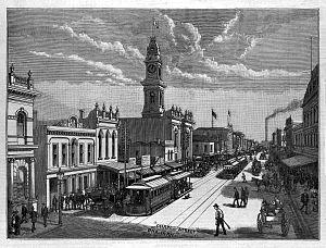 Prahran, Victoria - Chapel Street scene in 1889