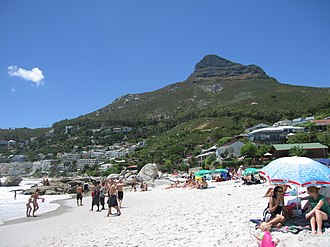 Clifton, Cape Town - Lion's head from Clifton 4th Beach