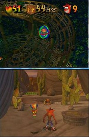 """Crash Bandicoot: The Wrath of Cortex - Top: In this level, Crash rolls along while inside an """"Atlasphere"""". A menu at the top of the screen shows the number of Wumpa fruit collected, the current number of boxes broken (out of the level's box total), and the number of lives.  Bottom: Another level. To Crash's left is Aku Aku, a sentient mask who protects Crash from damage. To Crash's right is a """"?"""" platform, which leads him to a Bonus Round. Various hazards lie in front of Crash. An enemy scorpion patrols in front of the bridge, while an enemy bird hovers above a row of explosive Nitro crates on the far side of the bridge."""