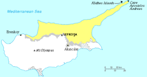 Extreme points of Northern Cyprus - A map depicting the extreme points of Northern Cyprus